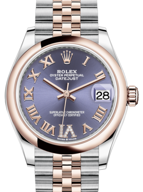 Ladies Rolex Lady-Datejust 31 Rose Gold/Steel Aubergine Roman Diamond VI Dial & Smooth Domed Bezel Jubilee Bracelet 278241 - BRAND NEW - Global Timez