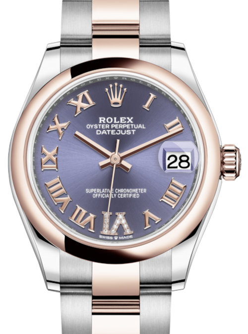 Ladies Rolex Lady-Datejust 31 Rose Gold/Steel Aubergine Roman Diamond VI Dial & Smooth Domed Bezel Oyster Bracelet 278241 - BRAND NEW - Global Timez