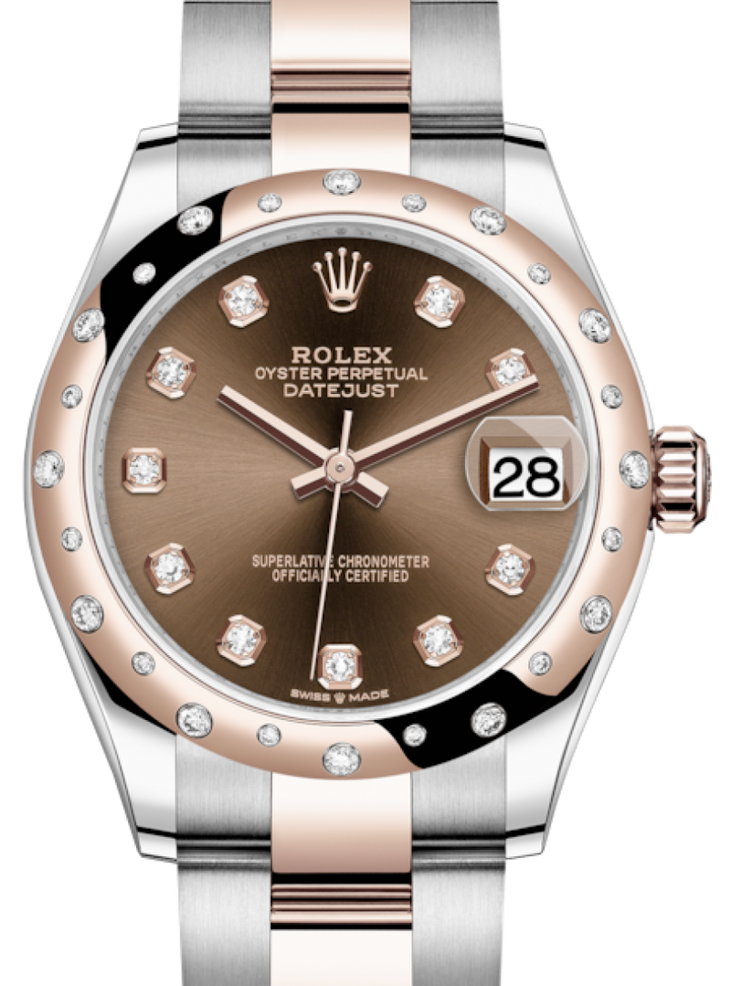 Ladies Rolex Lady-Datejust 31 Rose Gold/Steel Chocolate Diamond Dial & Domed Set with Diamonds Bezel Oyster Bracelet 278341RBR - BRAND NEW
