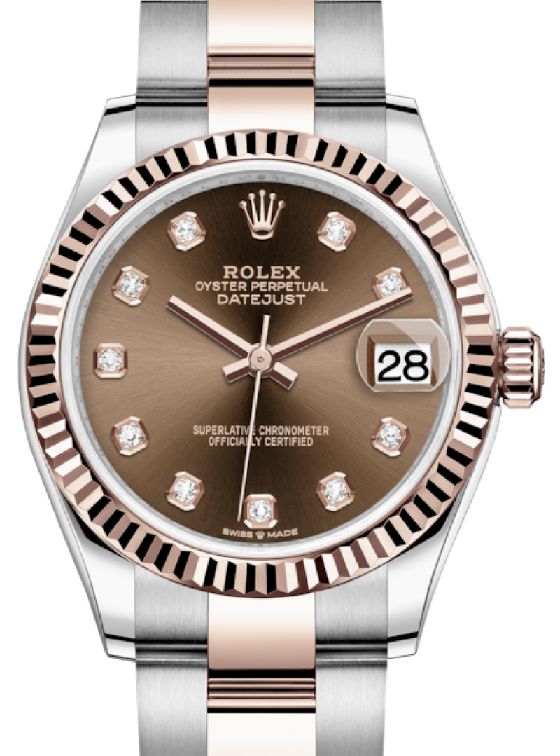 Ladies Rolex Lady-Datejust 31 Rose Gold/Steel Chocolate Diamond Dial & Fluted Bezel Oyster Bracelet 278271 - BRAND NEW