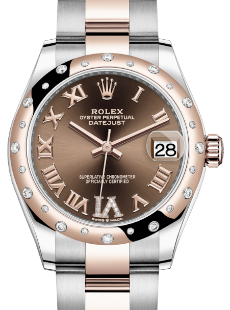 Ladies Rolex Lady-Datejust 31 Rose Gold/Steel Chocolate Roman Diamond VI Dial & Domed Set with Diamonds Bezel Oyster Bracelet 278341RBR - BRAND NEW