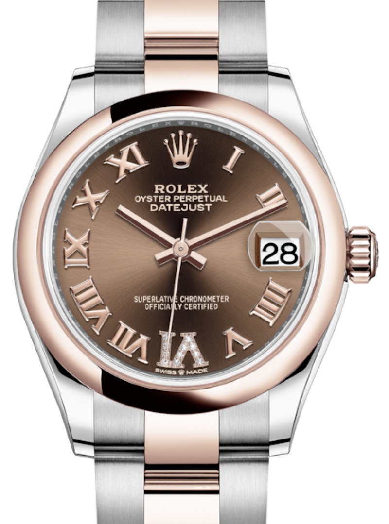 Ladies Rolex Lady-Datejust 31 Rose Gold/Steel Chocolate Roman Diamond VI Dial & Smooth Domed Bezel Oyster Bracelet 278241 - BRAND NEW