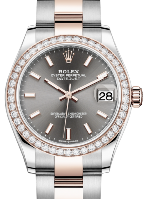 Ladies Rolex Lady-Datejust 31 Rose Gold/Steel Rhodium Index Dial & Diamond Bezel Oyster Bracelet 278381RBR - BRAND NEW - Global Timez