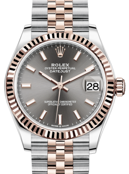 Ladies Rolex Lady-Datejust 31 Rose Gold/Steel Rhodium Index Dial & Fluted Bezel Jubilee Bracelet 278271 - BRAND NEW - Global Timez