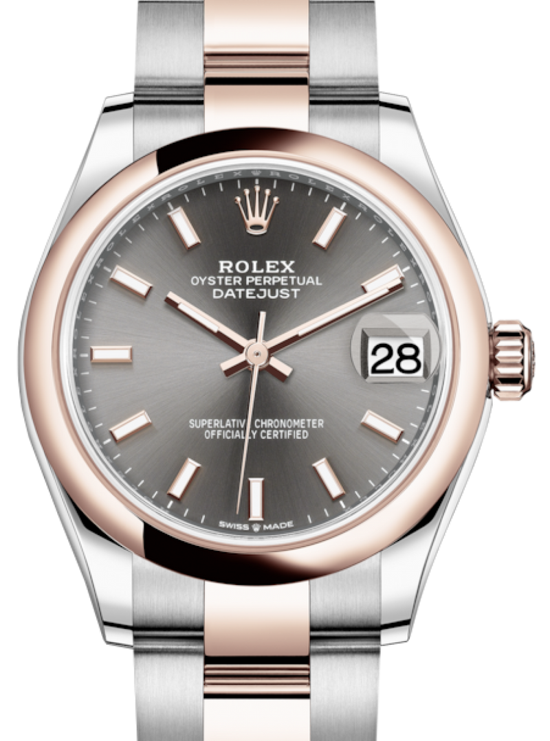 Ladies Rolex Lady-Datejust 31 Rose Gold/Steel Rhodium Index Dial & Smooth Domed Bezel Oyster Bracelet 278241 - BRAND NEW