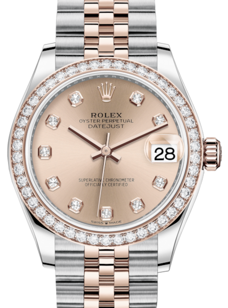 Ladies Rolex Lady-Datejust 31 Rose Gold/Steel Rose Diamond Dial & Diamond Bezel Jubilee Bracelet 278381RBR - BRAND NEW