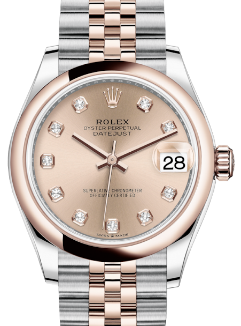 Ladies Rolex Lady-Datejust 31 Rose Gold/Steel Rose Diamond Dial & Smooth Domed Bezel Jubilee Bracelet 278241 - BRAND NEW