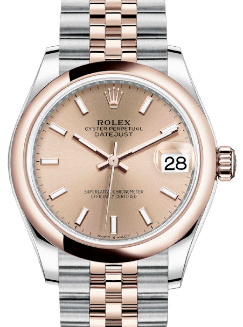 Ladies Rolex Lady-Datejust 31 Rose Gold/Steel Rose Index Dial & Smooth Domed Bezel Jubilee Bracelet 278241 - BRAND NEW