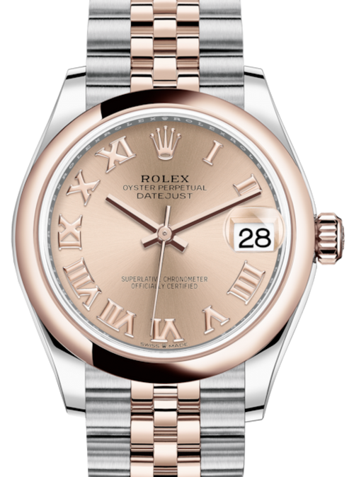 Ladies Rolex Lady-Datejust 31 Rose Gold/Steel Rose Roman Dial & Smooth Domed Bezel Jubilee Bracelet 278241 - BRAND NEW - Global Timez