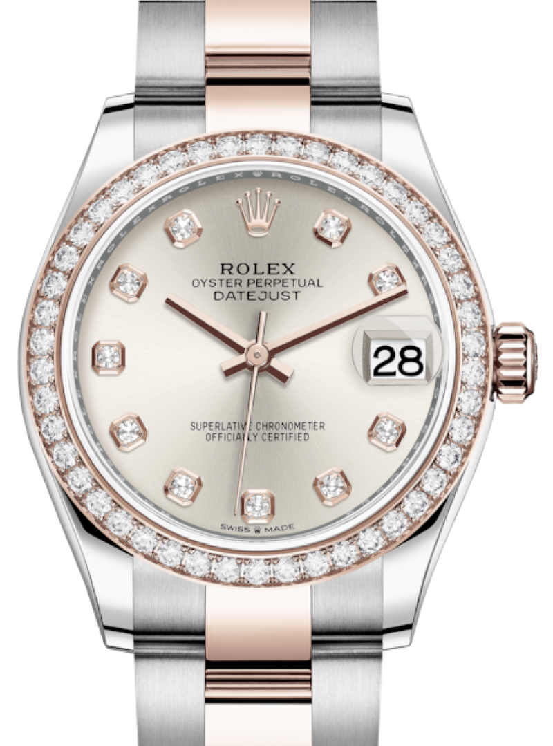 Ladies Rolex Lady-Datejust 31 Rose Gold/Steel Silver Diamond Dial & Diamond Bezel Oyster Bracelet 278381RBR - BRAND NEW