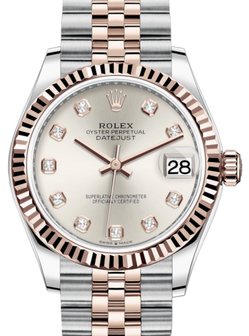 Ladies Rolex Lady-Datejust 31 Rose Gold/Steel Silver Diamond Dial & Fluted Bezel Jubilee Bracelet 278271 - BRAND NEW