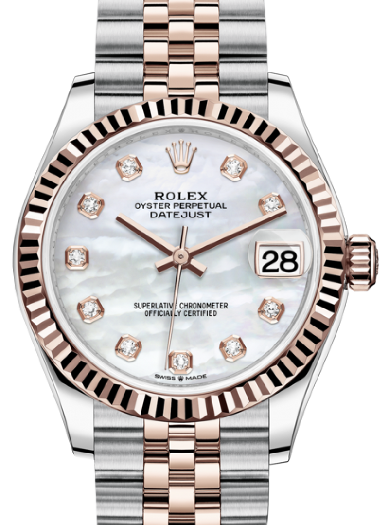 Ladies Rolex Lady-Datejust 31 Rose Gold/Steel White Mother of Pearl Diamond Dial & Fluted Bezel Jubilee Bracelet 278271 - BRAND NEW