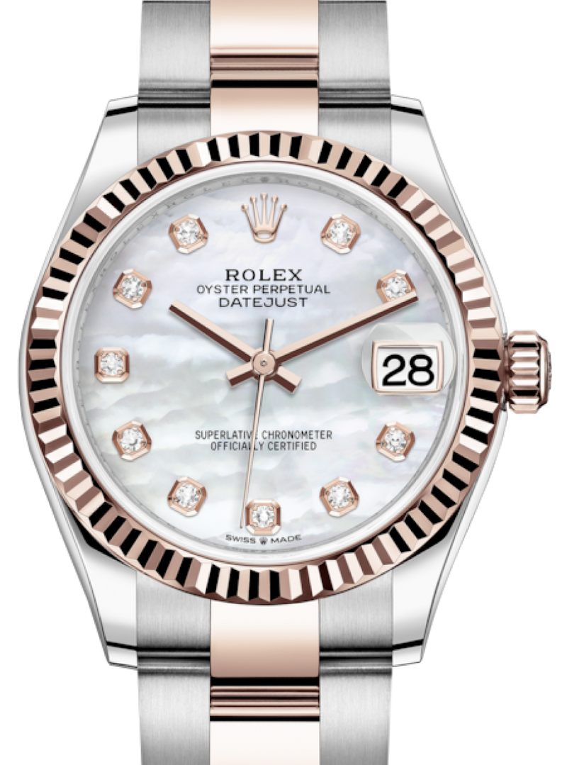 Ladies Rolex Lady-Datejust 31 Rose Gold/Steel White Mother of Pearl Diamond Dial & Fluted Bezel Oyster Bracelet 278271 - BRAND NEW