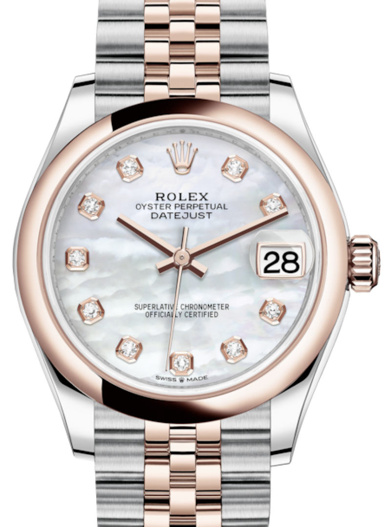 Ladies Rolex Lady-Datejust 31 Rose Gold/Steel White Mother of Pearl Diamond Dial & Smooth Domed Bezel Jubilee Bracelet 278241 - BRAND NEW