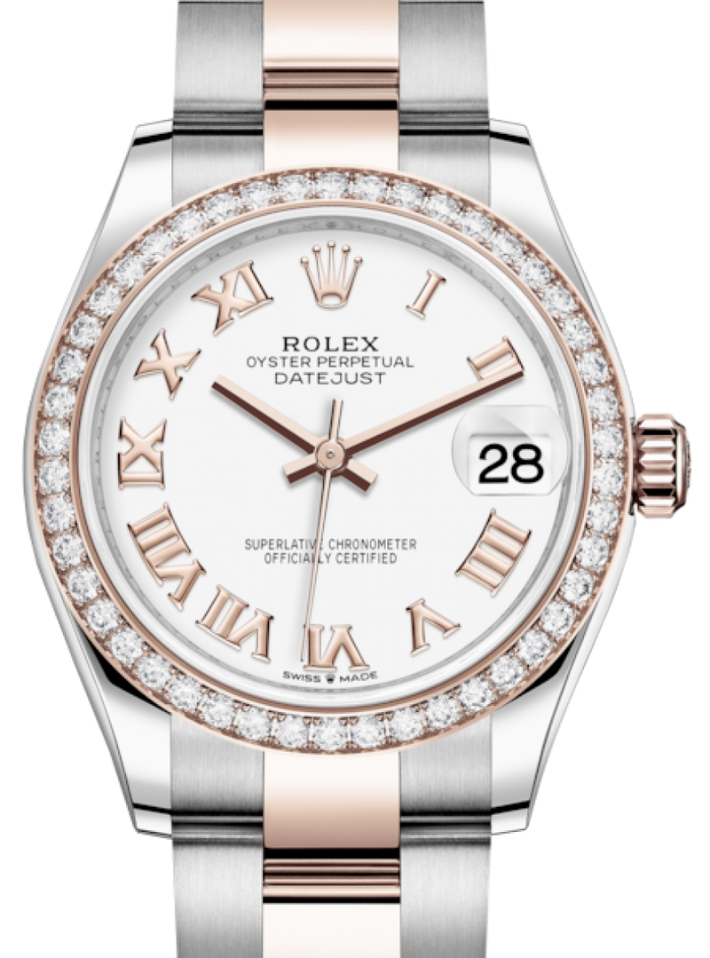 Ladies Rolex Lady-Datejust 31 Rose Gold/Steel White Roman Dial & Diamond Bezel Oyster Bracelet 278381RBR - BRAND NEW