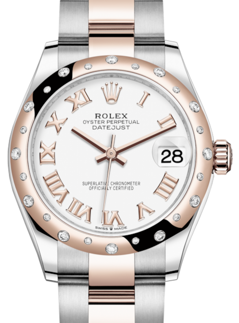 Ladies Rolex Lady-Datejust 31 Rose Gold/Steel White Roman Dial & Domed Set with Diamonds Bezel Oyster Bracelet 278341RBR - BRAND NEW