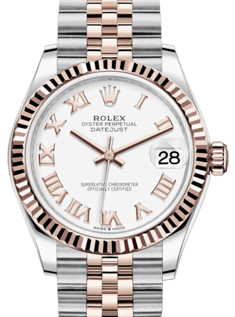 Ladies Rolex Lady-Datejust 31 Rose Gold/Steel White Roman Dial & Fluted Bezel Jubilee Bracelet 278271 - BRAND NEW