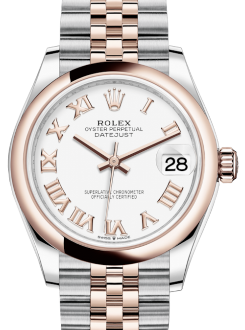 Ladies Rolex Lady-Datejust 31 Rose Gold/Steel White Roman Dial & Smooth Domed Bezel Jubilee Bracelet 278241 - BRAND NEW - Global Timez
