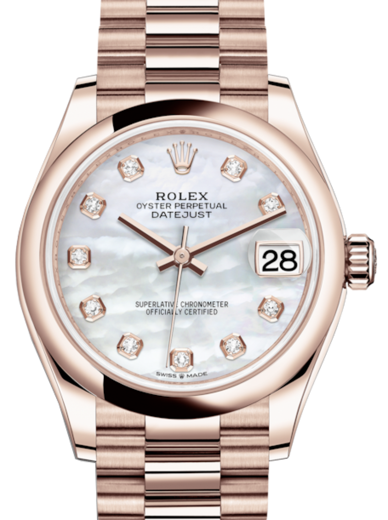 Ladies Rolex Lady-Datejust 31 Rose Gold White Mother of Pearl Diamond Dial & Smooth Domed Bezel President Bracelet 278245 - BRAND NEW