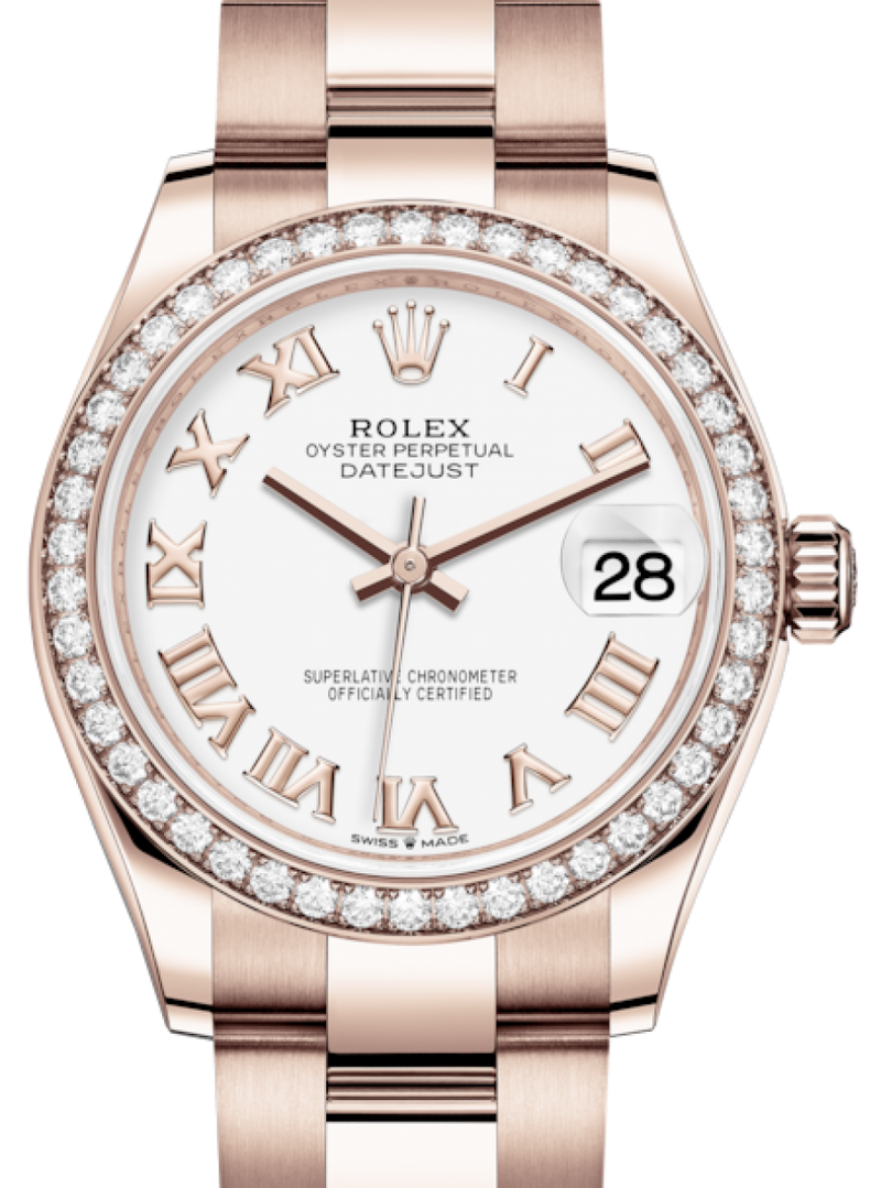 Ladies Rolex Lady-Datejust 31 Rose Gold White Roman Dial & Diamond Bezel Oyster Bracelet 278285RBR - BRAND NEW