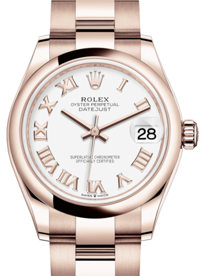 Ladies Rolex Lady-Datejust 31 Rose Gold White Roman Dial & Smooth Domed Bezel Oyster Bracelet 278245 - BRAND NEW
