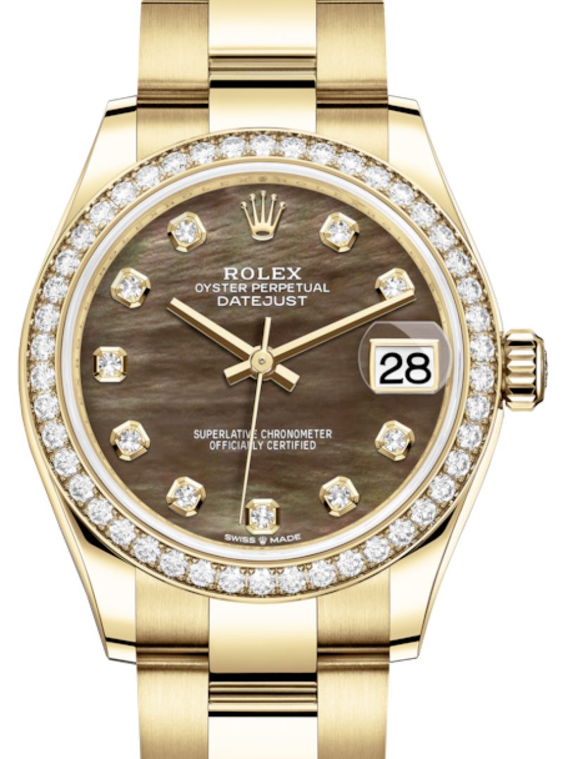 Ladies Rolex Lady-Datejust 31 Yellow Gold Black Mother of Pearl Diamond Dial & Diamond Bezel Oyster Bracelet 278288RBR - BRAND NEW