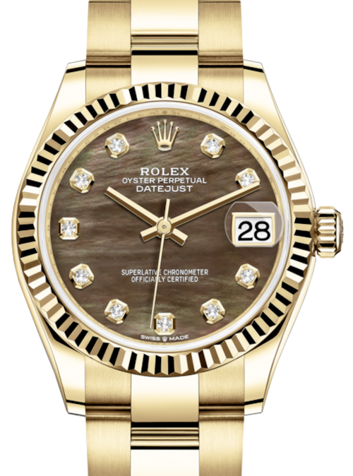 Ladies Rolex Lady-Datejust 31 Yellow Gold Black Mother of Pearl Diamond Dial & Fluted Bezel Oyster Bracelet 278278 - BRAND NEW - Global Timez