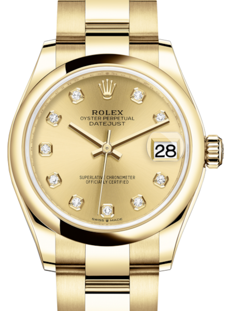 Ladies Rolex Lady-Datejust 31 Yellow Gold Champagne Diamond Dial & Smooth Domed Bezel Oyster Bracelet 278248 - BRAND NEW