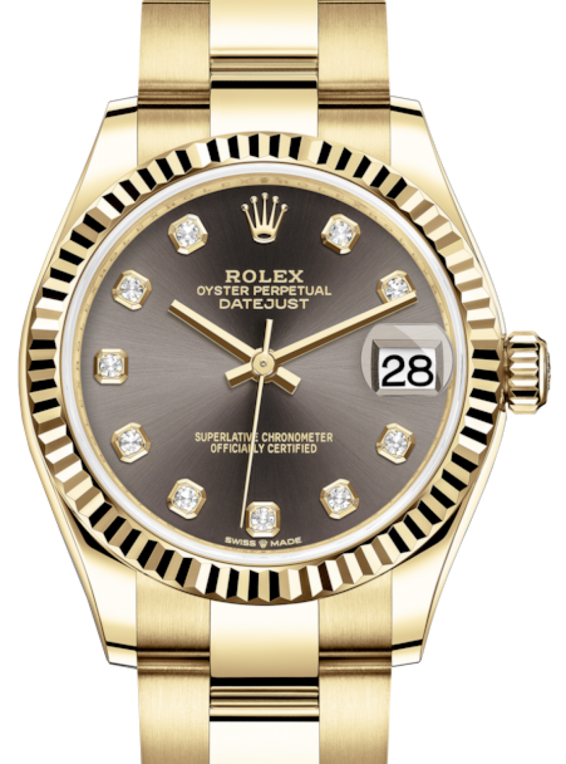 Ladies Rolex Lady-Datejust 31 Yellow Gold Dark Grey Diamond Dial & Fluted Bezel Oyster Bracelet 278278 - BRAND NEW