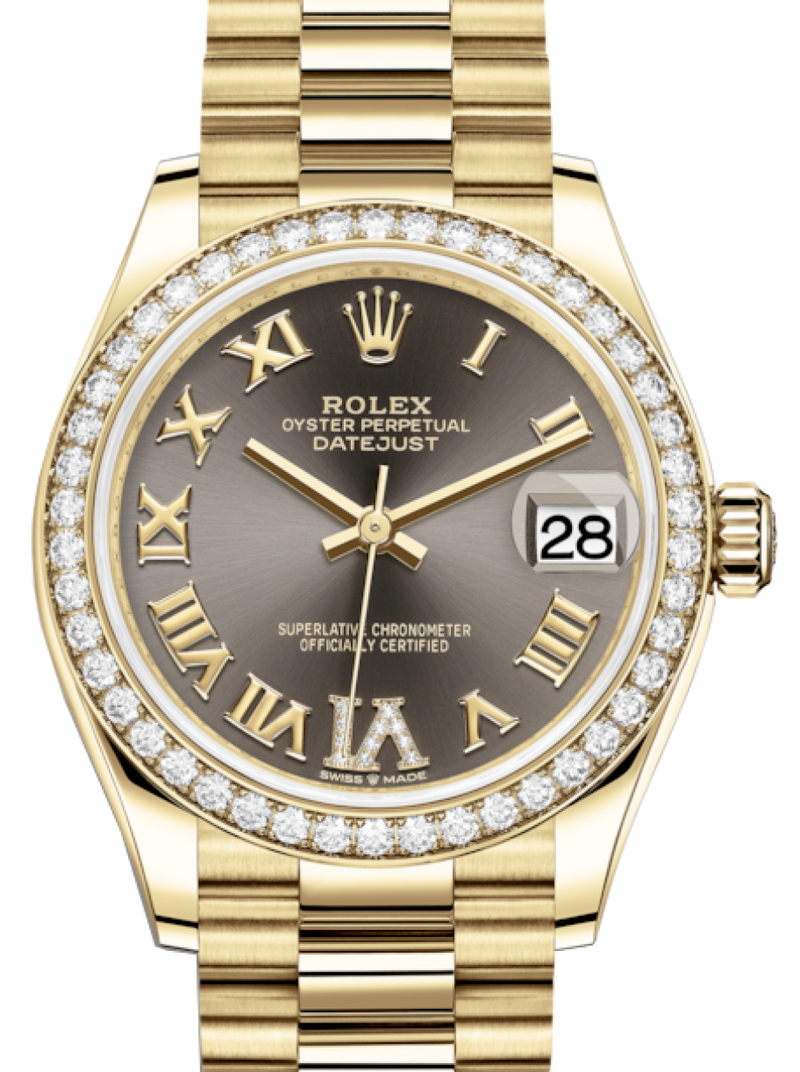 Ladies Rolex Lady-Datejust 31 Yellow Gold Dark Grey Roman Diamond VI Dial & Diamond Bezel President Bracelet 278288RBR - BRAND NEW