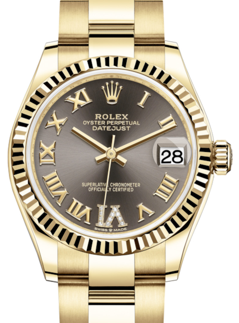 Ladies Rolex Lady-Datejust 31 Yellow Gold Dark Grey Roman Diamond VI Dial & Fluted Bezel Oyster Bracelet 278278 - BRAND NEW