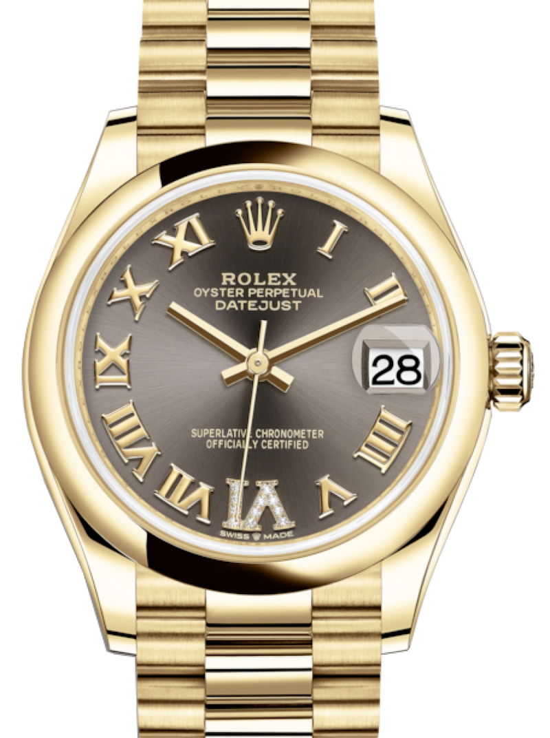 Ladies Rolex Lady-Datejust 31 Yellow Gold Dark Grey Roman Diamond VI Dial & Smooth Domed Bezel President Bracelet 278248 - BRAND NEW