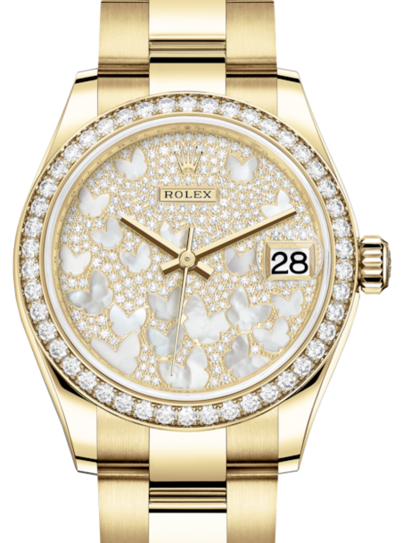 Ladies Rolex Lady-Datejust 31 Yellow Gold Mother of Pearl Butterfly Diamond Paved Dial & Diamond Bezel Oyster Bracelet 278288RBR - BRAND NEW
