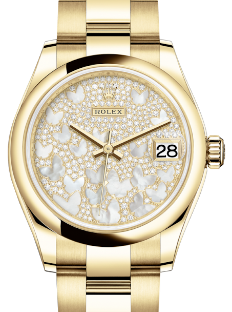 Ladies Rolex Lady-Datejust 31 Yellow Gold Mother of Pearl Butterfly Diamond Paved Dial & Smooth Domed Bezel Oyster Bracelet 278248 - BRAND NEW