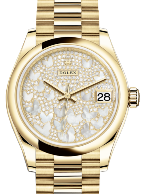 Ladies Rolex Lady-Datejust 31 Yellow Gold Mother of Pearl Butterfly Diamond Paved Dial & Smooth Domed Bezel President Bracelet 278248 - BRAND NEW - Global Timez