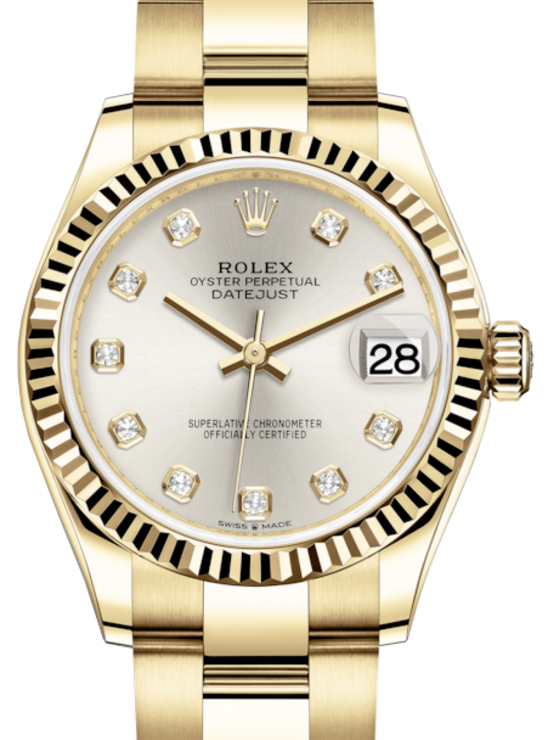 Ladies Rolex Lady-Datejust 31 Yellow Gold Silver Diamond Dial & Fluted Bezel Oyster Bracelet 278278 - BRAND NEW