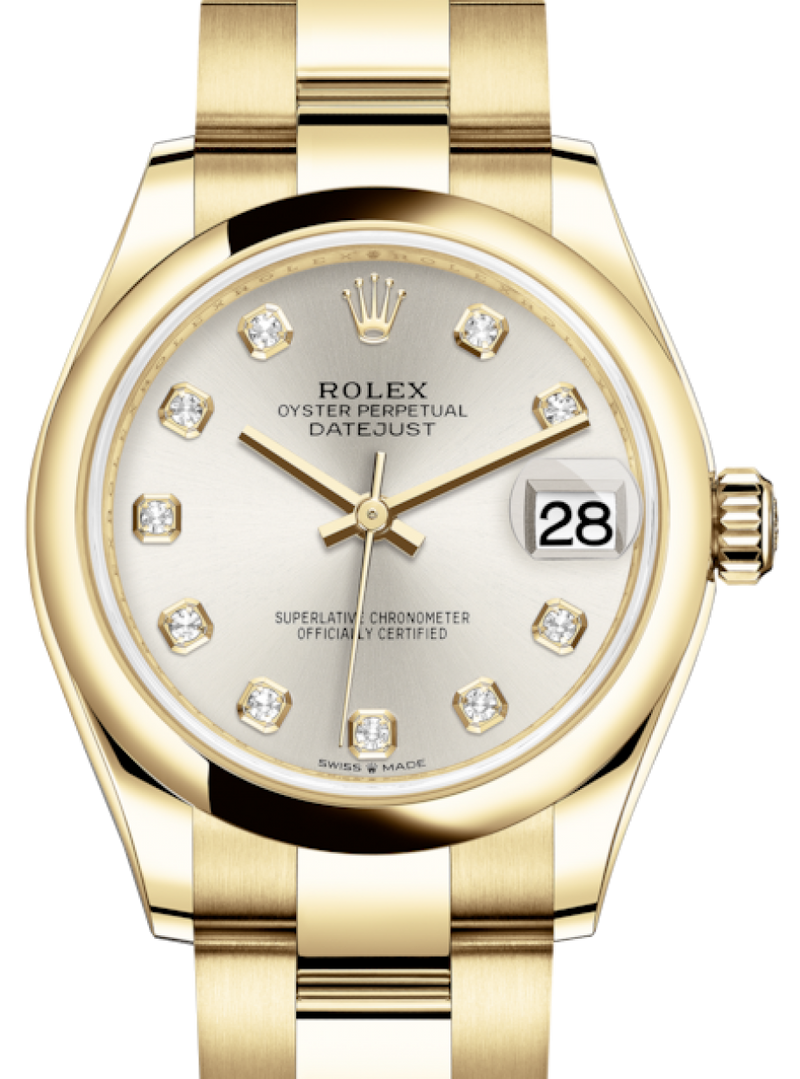 Ladies Rolex Lady-Datejust 31 Yellow Gold Silver Diamond Dial & Smooth Domed Bezel Oyster Bracelet 278248 - BRAND NEW