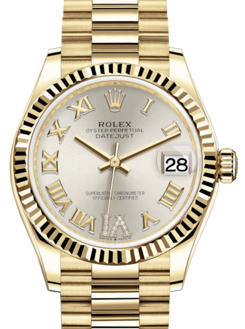 Ladies Rolex Lady-Datejust 31 Yellow Gold Silver Roman Diamond VI Dial & Fluted Bezel President Bracelet 278278 - BRAND NEW