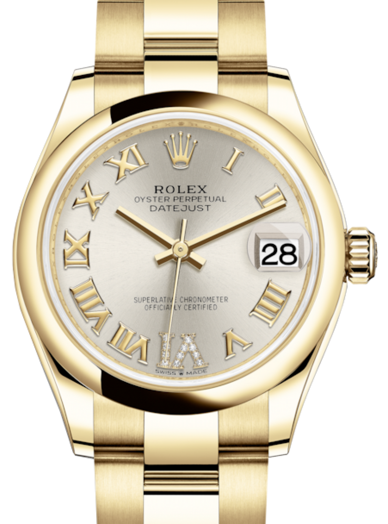 Ladies Rolex Lady-Datejust 31 Yellow Gold Silver Roman Diamond VI Dial & Smooth Domed Bezel Oyster Bracelet 278248 - BRAND NEW