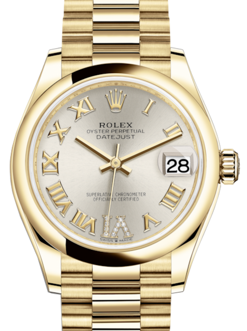 Ladies Rolex Lady-Datejust 31 Yellow Gold Silver Roman Diamond VI Dial & Smooth Domed Bezel President Bracelet 278248 - BRAND NEW