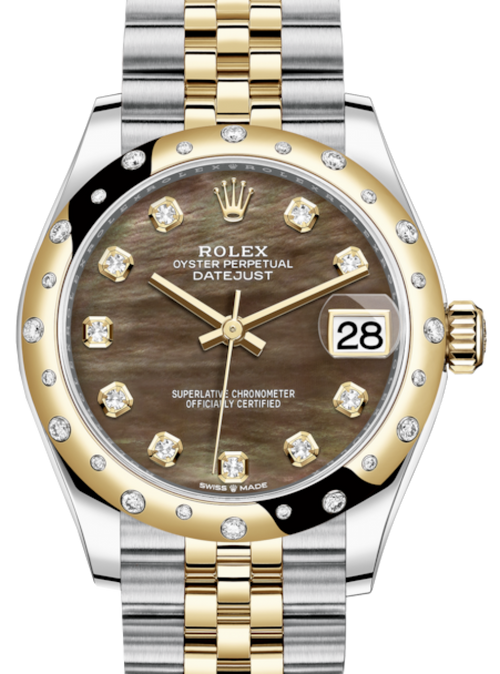 Ladies Rolex Lady-Datejust 31 Yellow Gold/Steel Black Mother of Pearl Diamond Dial & Domed Set with Diamonds Bezel Jubilee Bracelet 278343RBR - BRAND NEW - Global Timez