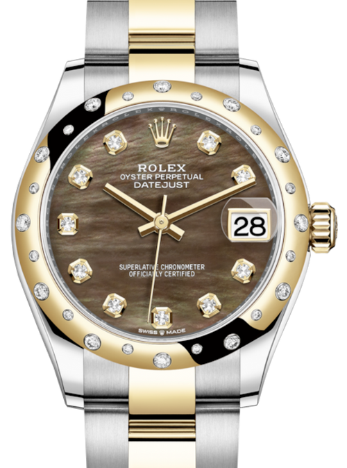 Ladies Rolex Lady-Datejust 31 Yellow Gold/Steel Black Mother of Pearl Diamond Dial & Domed Set with Diamonds Bezel Oyster Bracelet 278343RBR - BRAND NEW - Global Timez
