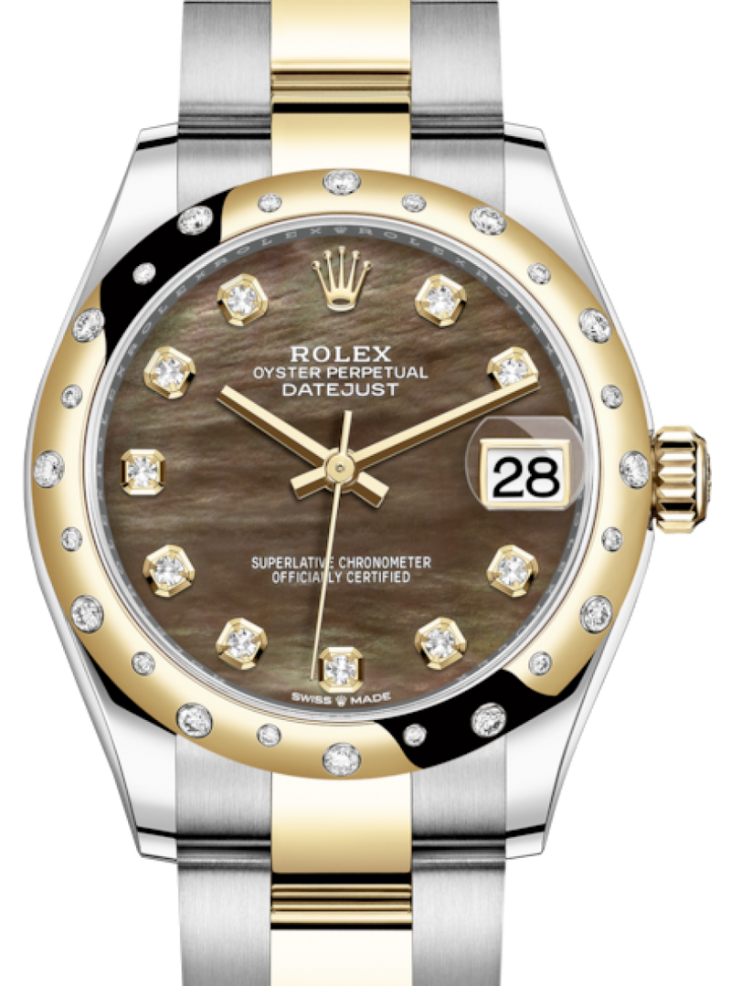 Ladies Rolex Lady-Datejust 31 Yellow Gold/Steel Black Mother of Pearl Diamond Dial & Domed Set with Diamonds Bezel Oyster Bracelet 278343RBR - BRAND NEW