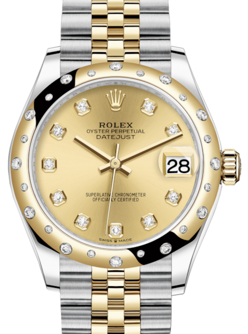 Ladies Rolex Lady-Datejust 31 Yellow Gold/Steel Champagne Diamond Dial & Domed Set with Diamonds Bezel Jubilee Bracelet 278343RBR - BRAND NEW