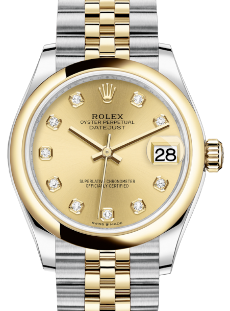 Ladies Rolex Lady-Datejust 31 Yellow Gold/Steel Champagne Diamond Dial & Smooth Domed Bezel Jubilee Bracelet 278243 - BRAND NEW