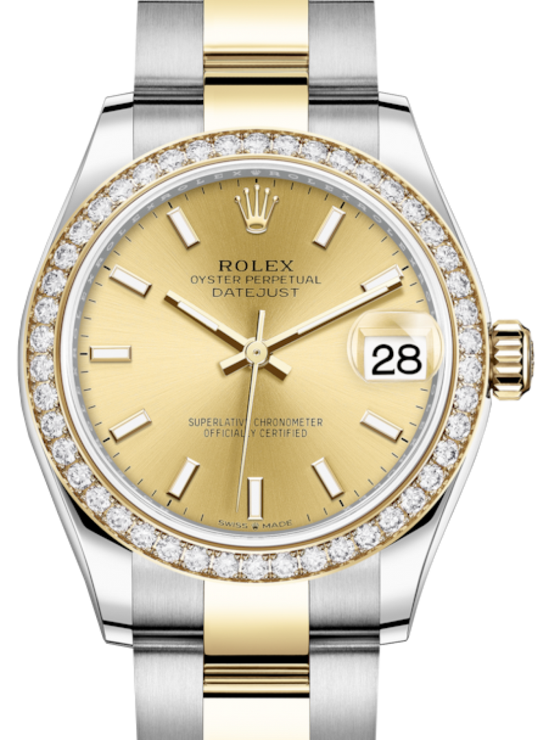 Ladies Rolex Lady-Datejust 31 Yellow Gold/Steel Champagne Index Dial & Diamond Bezel Oyster Bracelet 278383RBR - BRAND NEW