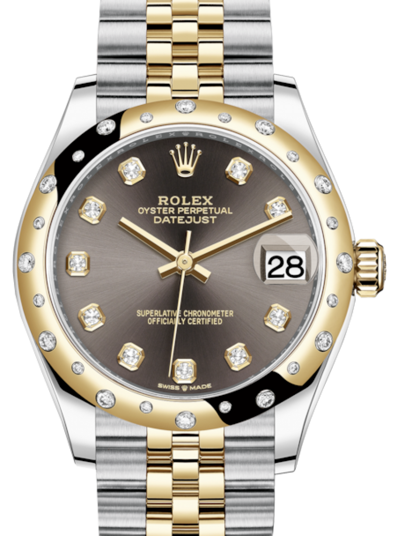 Ladies Rolex Lady-Datejust 31 Yellow Gold/Steel Dark Grey Diamond Dial & Domed Set with Diamonds Bezel Jubilee Bracelet 278343RBR - BRAND NEW