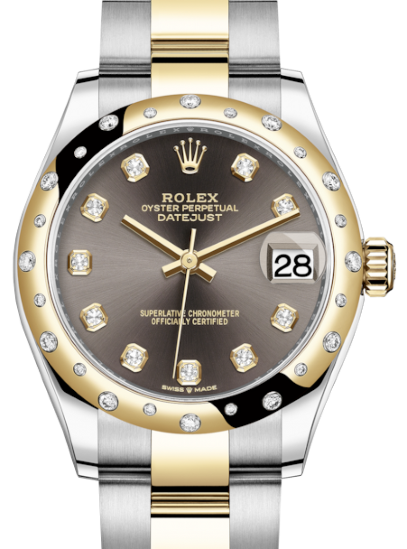 Ladies Rolex Lady-Datejust 31 Yellow Gold/Steel Dark Grey Diamond Dial & Domed Set with Diamonds Bezel Oyster Bracelet 278343RBR - BRAND NEW