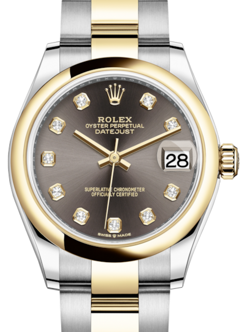 Ladies Rolex Lady-Datejust 31 Yellow Gold/Steel Dark Grey Diamond Dial & Smooth Domed Bezel Oyster Bracelet 278243 - BRAND NEW