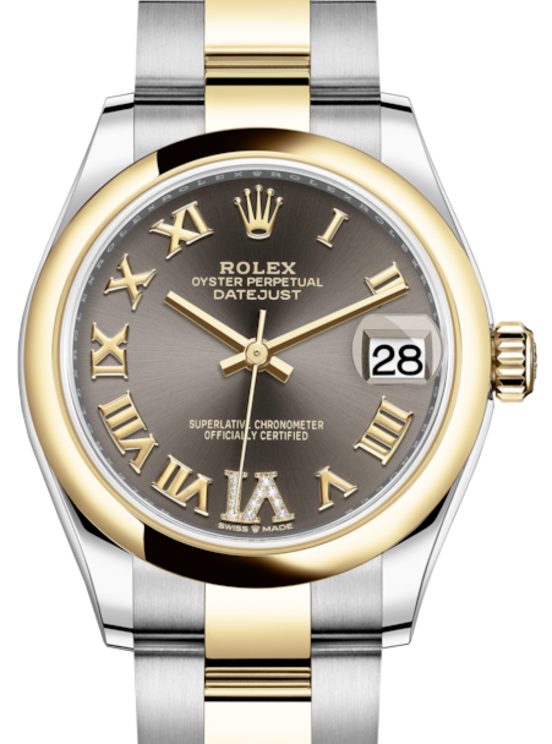 Ladies Rolex Lady-Datejust 31 Yellow Gold/Steel Dark Grey Roman Diamond VI Dial & Smooth Domed Bezel Oyster Bracelet 278243 - BRAND NEW